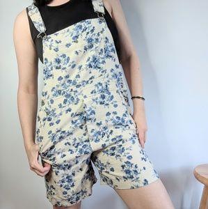 Vintage | Bill Blass Floral Overalls Shorts